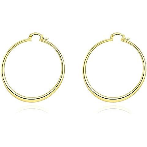 Gnzoe Gioielli Oro Placcato Donna's Orecchini Hoop Orecchini 5.5CM Rotondo Oro