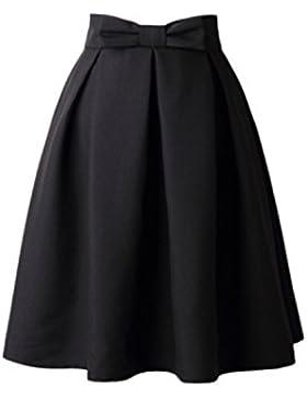 Mujeres Vintage Pajarita Monocolor Plisado Cintura Alta Falda De Tutu De Swing
