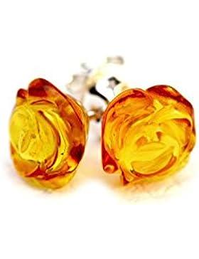 925Sterling Silber Ohrstecker Rose mit Honig Echter baltischer natur Bernstein