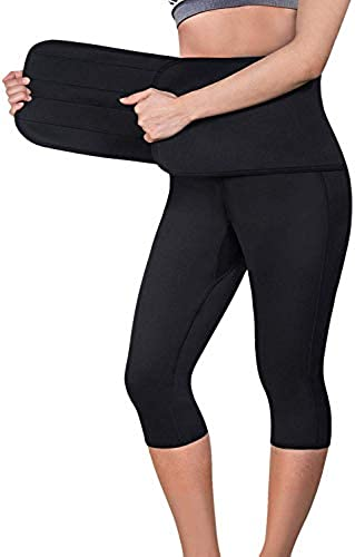 2 in 1 Damen Hohe Größe Yoga Sporthose Capri Fitness Dünne Hosen Leggings Trainieren Elastische mit Größe Trainer...