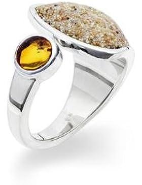 Ring Strandsand mit Bernstein aus 925er Silber