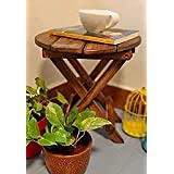 Glorieux Art Beautiful Antique Wooden Foldable Side Table/End Table/Stool Living Room Kids Play Furniture Table Round Shape