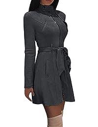 Fanxing Damen Wintermantel Kleid Solide  Rollkragen-Reißverschluss-Bogen-Verband-Windjacke-Langer 5abf6baf89