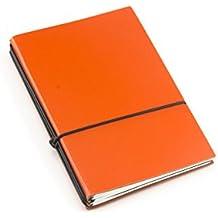 X17 A6 3er Leder-Fasermaterial orange mit Notizenmix, Made in Germany, beschichtetes Lederfasermaterial, 17 Jahre Garantie auf die Hülle!