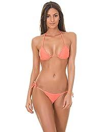 Mpitude Coral Micro Bikini Set Lingerie Bra Panty String Bikini Swim Suit Women Bikini Beachwear