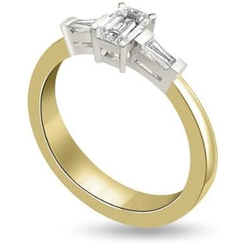 0.75ct H/SI1 Diamante Trilogy Anello da Donna con Smeraldo & Baguette diamanti in 18kt Oro Bianco e Giallo - Smeraldo Baguette Anello
