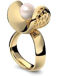 Golfschmuck Golf Schmuck Gold Ring Süßwasser Perle rosé 750 + inkl. Luxusetui + Süßwasser Perle rosé Ring Gold Perlenring Gold (Gelbgold 750) - Pearl Symbiosis Amoonic AM253 GG750PRPE
