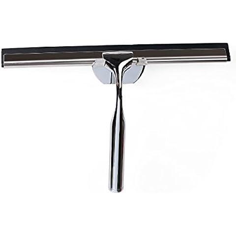 Tenrai - Espátula limpiacristales de acero inoxidable, para duchas, espejos, ventanas - con soporte para colgar