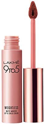 Lakme 9 to 5 Weightless Mousse Lip and Cheek Color, Coca Soft, 9g