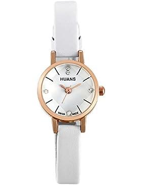 JewelryWe Damen Armbanduhr, Analog Quarz Elegant dünne Uhr Modisch zeitloses Design mit Strass Runde Zifferblatt...