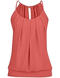dc9f7d983 FNKDOR New Women Summer Sexy Yoga Beach Sun Bath Loose Wrinkled O Neck Cami  Tank Tops