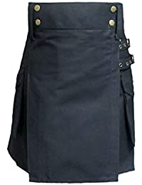 Tartanista Kilt/falda escocesa de trabajo para mujer - Algodón - Negro - EU40 UK12