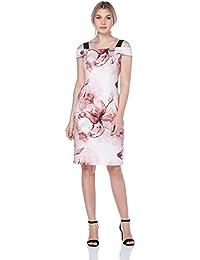 4992affae3242f Roman Originals Damen Scuba-Kleid mit Lilienmuster in Pink Größe ...