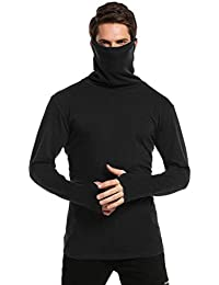 PAUSE Black Solid High Neck Slim Fit Full Sleeve Men's Mask T-Shirt