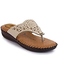 La Shades ACCU-2004, Cream Doctor Sole Orthopedic Comfortable Slippers for Women