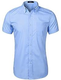 iClosam Camisa de Manga Corta de Color sólido para Hombre con Botones Blusas de Ajuste para el Ocio Traje Boda