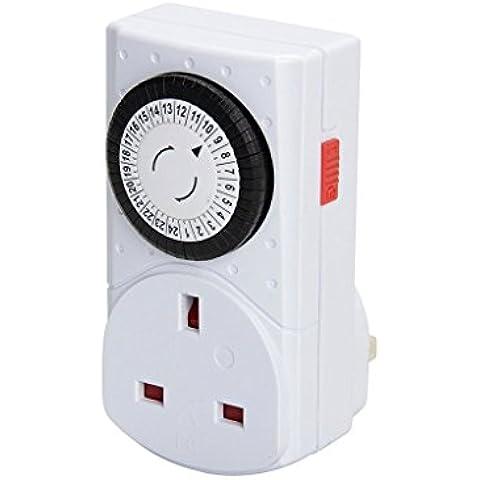 24 Ore Timer Meccanico Segmento Interruttore Spina / Compatto Facile da Usare Analogico Presa di Controllo Interruttore a Tempo / Grande per La Domotica, Il Risparmio Energetico e La Sicurezza Domestica / iCHOOSE