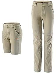 hysenm Pantalones Cortos Mujer extraíble secado rápido camping Hiking Deporte Outdoor Marrón caqui