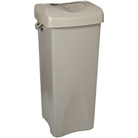 Rubbermaid Commercial FG792020BEIG 23-Gallon Untouchable Trash Can with Swing Lid Combo, Rectangular, Beige by Rubbermaid Commercial