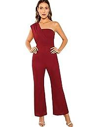 010ab5156 SOLY HUX Mono Largo Mujer Verano O Jumpsuit Otoño Casual en Cintura Alta  con Bosillo Hombro