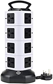 Universal Vertical Extension Lead Tower Surge Protectors UK Outlet Multiple Plug Sockets With USB (2.1A Output