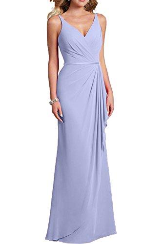 Gorgeous Bride Schlicht Träger Etui Lang Chiffon Abendmode Abendkleider Lang Cocktailkleider Ballkleider Lavendel