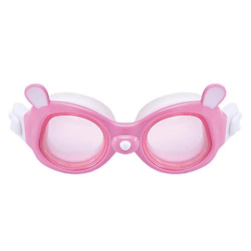 Schwimmbrille mit Ohrenstöpsel, großer Junge Rahmen wasserdicht und Anti-Fog-HD Schwimmbrille Ausrüstung, Mädchen große Kiste - weißes Pulver -