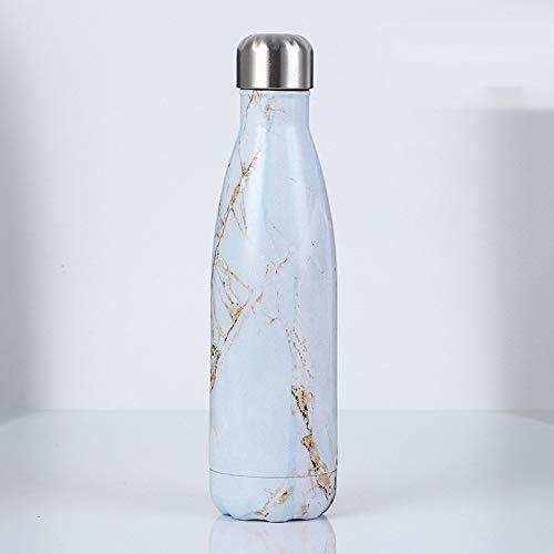 QSMY Cool Water Bottle Edelstahl Cola-Flasche Marmor Trend Wasserflasche Outdoor Sports Tasse (Color : Golden jade)