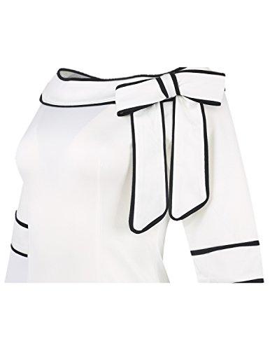 MODETREND Damen Kleider mit Bogen 1/2-Arm Etui Elastisch Tulpenkleid Wort Schulter Partykleider Bleistiftrock Abendkleid Casualkleider Weiß