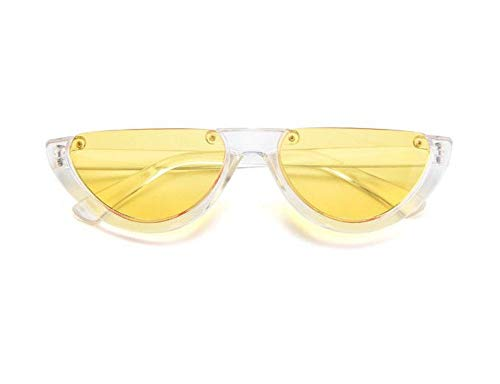 WSKPE Sonnenbrille,Cool Trendige Hälfte Frame Sonnenbrille Cat Eye Sonnenbrille Frauen Sonnenbrille Klare,Gelbe Linse