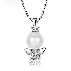 Allgut Damen Kette, 925 Sterling Silber Perle Zirkonia Engel Anhänger Mädchen Engelchen Halskette Schutzengel Kinderkette
