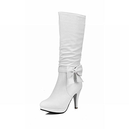 Mee Shoes Damen mit Schleife high heels Plateau Stiefel Weiß