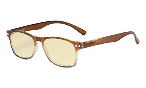 Eyekepper Computer-Lesebrille,Blaulicht-Blockierung.Stilvolle Brille Damen.Gelb getönt,Braun +1.25