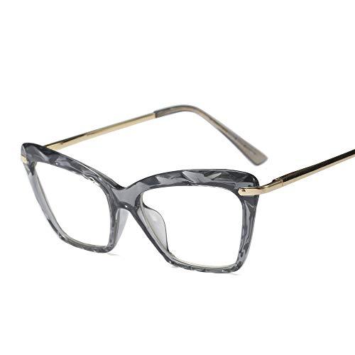 Easy Go Shopping Damen Vintage Multi-Cut Runde Kristall Brillengestell, klare Brille Sonnenbrillen und Flacher Spiegel (Farbe : Grau)