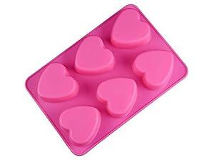 Muffinform Herz Silikon, 6 Herz Förmchen für Muffins, Cupcakes, Kuchen, Brownies und Pudding