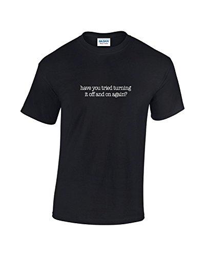 T-Shirt Geek Turn It Off and On Schwarz - Schwarz