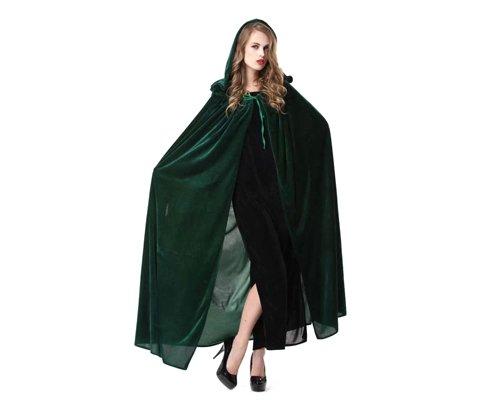 Shopready Lange Kapuzen Cape One Size Frauen Mantel für Cosplay Kostüm Party - Grün (Crushed Velvet Cape)