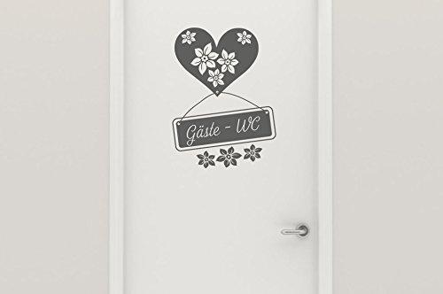 Wandtattoo Türaufkleber Gäste WC Nr 2 Toilettenaufkleber Badezimmer-Aufkleber WC-Tattoo WC-Aufkleber mit Herzen & Blüten – 30 Farben vom Hersteller Wandtattoo-bilder Größe 22×29