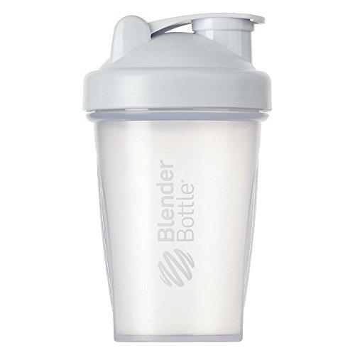 BlenderBottle Classic Botella de agua | Botella mezcladora de batidos de proteínas | con batidor Blenderball | libre de BPA | 590ml - blanco