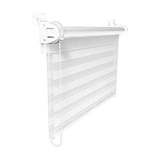 Victoria M. Double Store enrouleur 55 x 150 cm Blanc - Klemmfix: Sans perçage ni forage - Montage simple avec clips