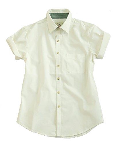 Kurzarm Sommer Herrenhemd, halbarm in rosa und weiss Weiß