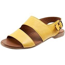Bohemia Romanas Sandalias de Verano Flip Flops Chanclas para Mujer Retro Zapato Sandalia Blandas Peep Toe Romano Mujeres Playa 2019 de Verano (43, Amarillo)