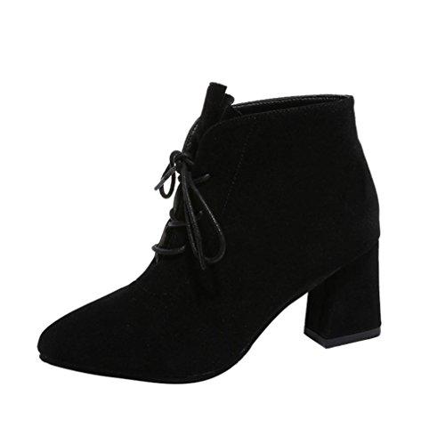 taottao Frauen Stiefel, quadratisch Absatz Knöchel Plattform Beute Outdoor Oberschenkel hohe Pumpe High Heel Schuhe, schwarz, 36 (Plattform-knöchel-boot)
