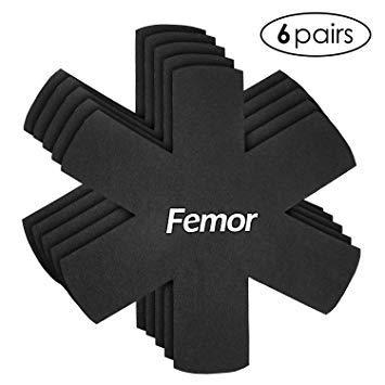 FEMOR 5 Pcs Protège Poêles et Séparateur de Casseroles Feutre Noir pour Protéger les Surfaces, Eviter Rayures sur des Poêles, Casseroles, Verres et Bols en Acier Inoxydable, Fonte, Céramique ou Grès