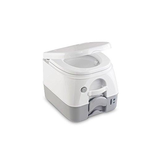 Dometic 972 - Inodoro portátil con descarga de agua a presión 360º, 9,8 litros de capacidad del tanque de aguas negras,  color blanco/gris