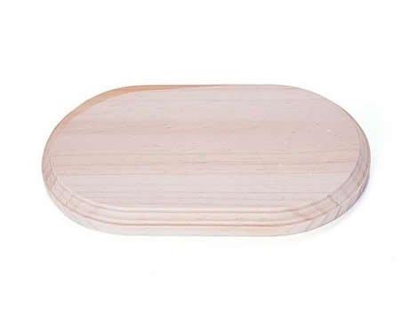 Peana madera de pino macizo oval inf. 29x14cm. sup. 27x12cm. alt. 1,5cm.