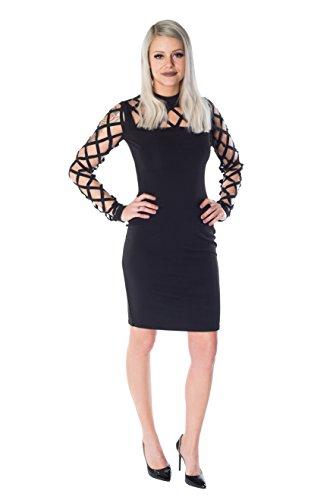 HO-Ersoka Damen Mini-Kleid langarm Stehkragen Gitter-Style schwarz Schwarz