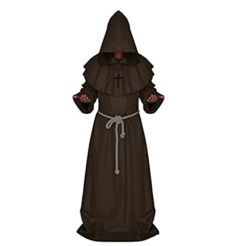 Halloween Costume,Medieval Cowl,Friar Hooded Monk Renaissance Priest Robe Cape Cloak Hooded Robe Costume