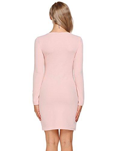 Zeela Damen Skaterkleid Langarm Tunika Strickkleid U-Ausschnitt Minikleid Stretch Basic Kleider Slim Fit Elegant Khaki