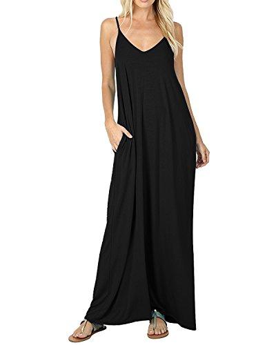 ACHIOOWA Mujer Vestido Elegante Playa Casual Dress Cuello V Sin Manga Túnica Sin Hombros Escote Punto Bolsillo Caftán Oversize Falda Larga Negro S